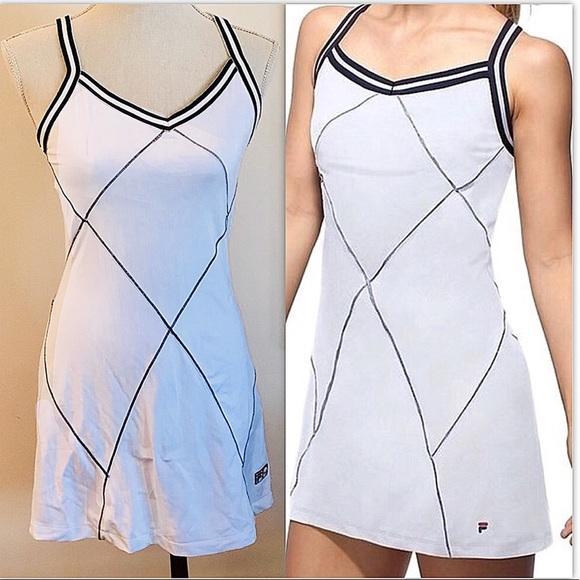 d55e12e330e Fila Dresses   Skirts - Fila heritage white  !navy blue tennis dress S